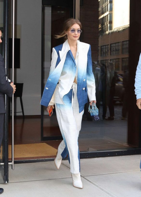 Gigi Hadid in Sharp Blue and Cream Ombre Pantsuit out in New York