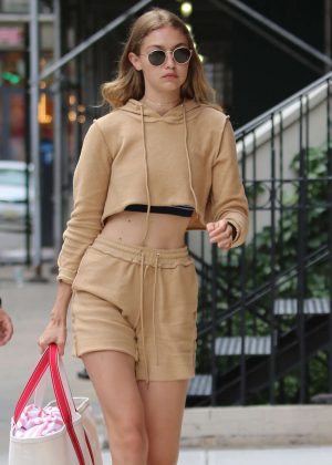 Gigi Hadid in Shorts Arriving at her apartment in New York