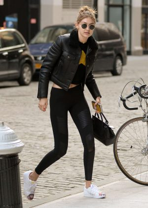Gigi Hadid in Tights Leaving her apartment in New York