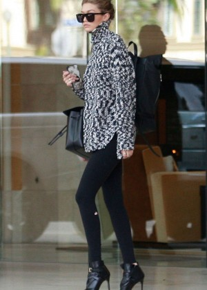 Gigi Hadid in Tights out in Los Angeles