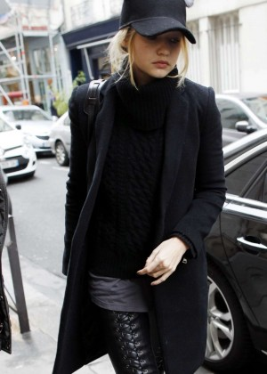 Gigi Hadid in Tights Out in Paris