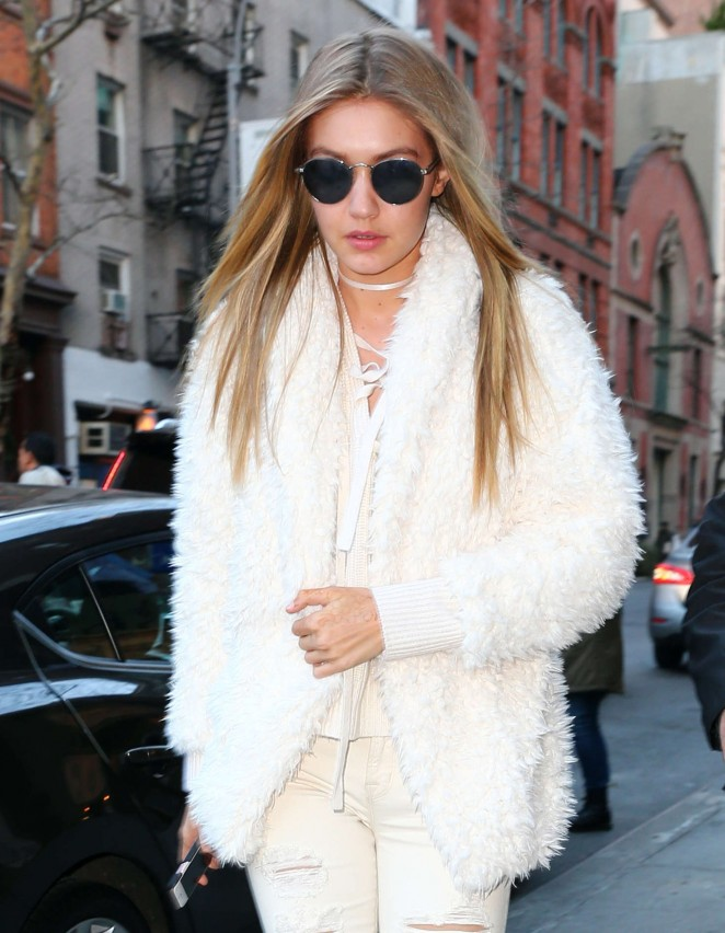 Gigi Hadid in white outfit out in NYC