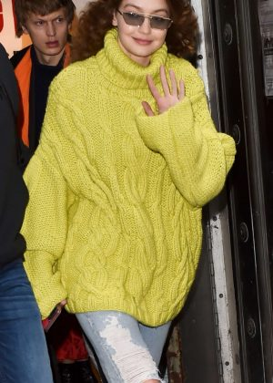 Gigi Hadid in Yellow-Green Knit Sweater - Out in NYC
