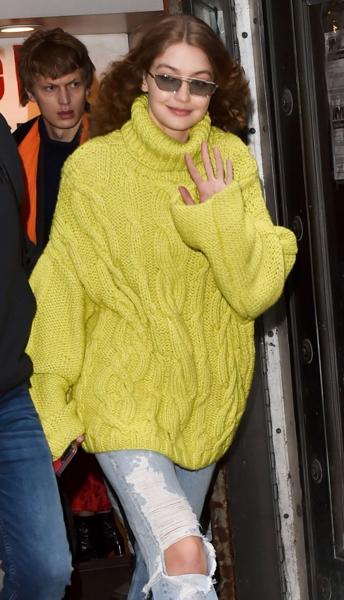 Gigi Hadid in Yellow-Green Knit Sweater – Out in NYC