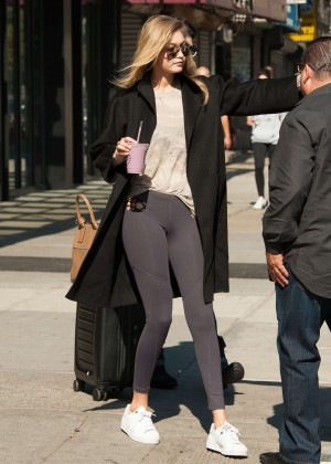 Gigi Hadid in Tights Leaves Airport in NY