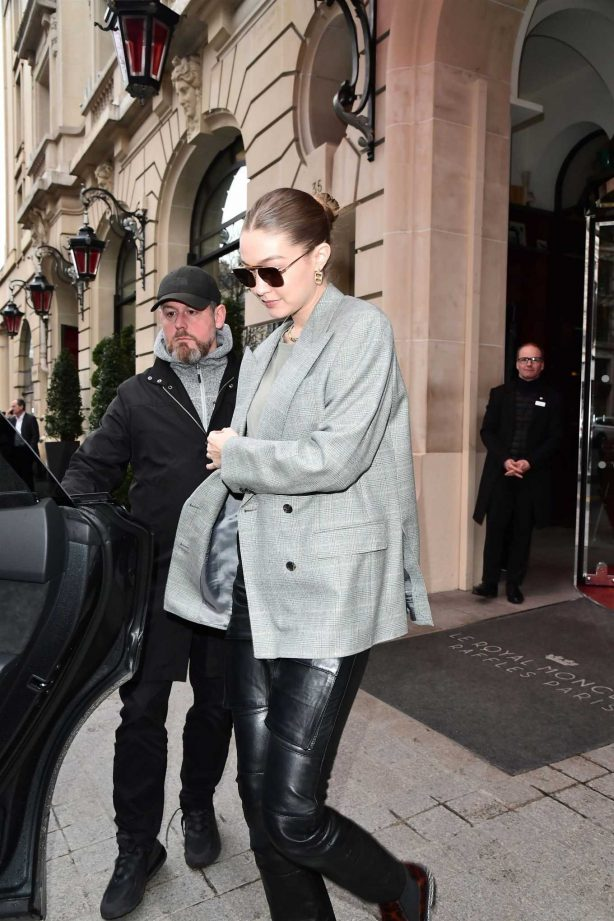 Gigi Hadid - Leaves her hotel the Royal Monceau in Paris