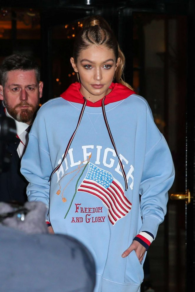 Gigi Hadid - Leaves Hotel George V in Paris
