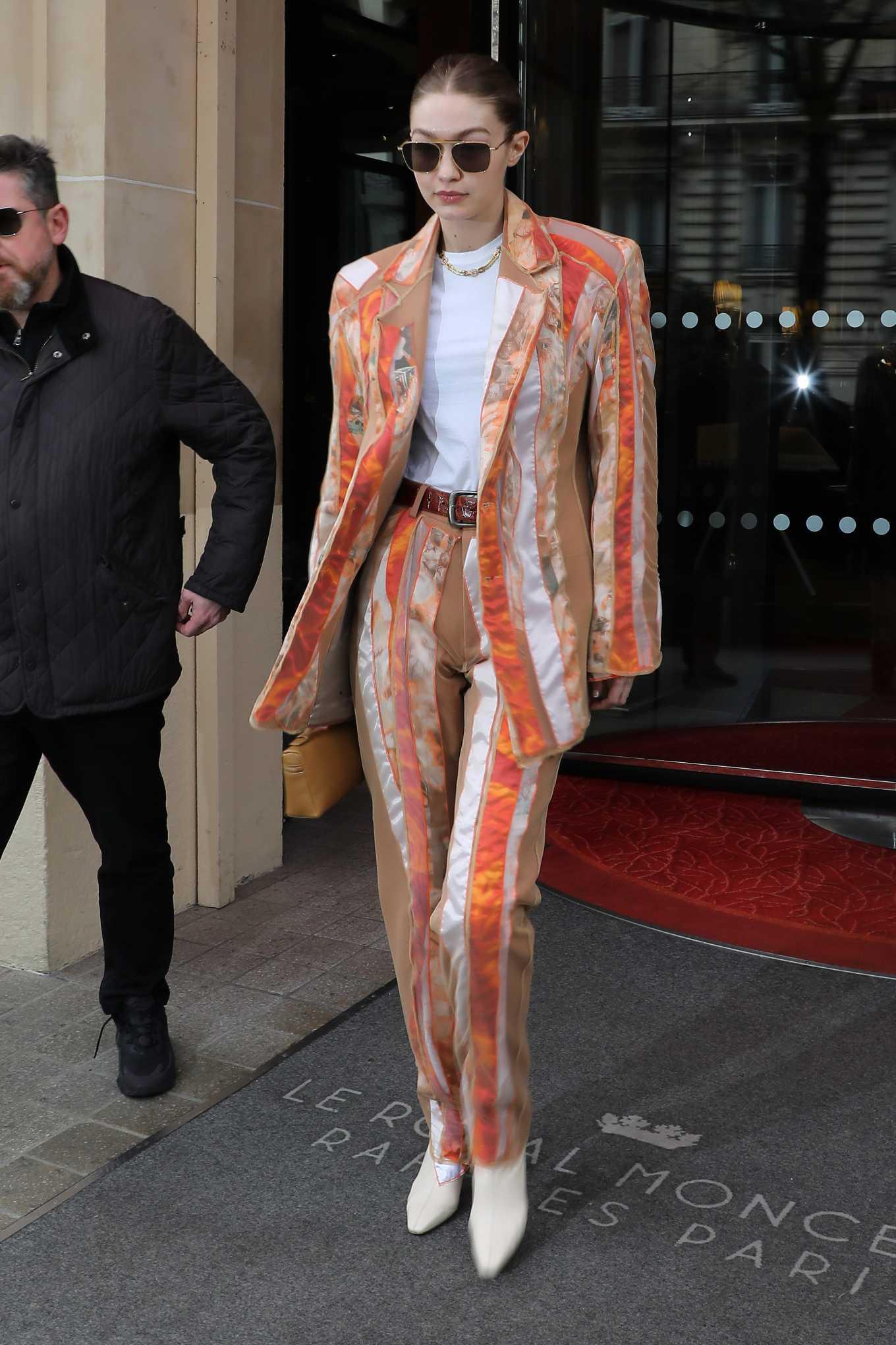 Gigi Hadid 2020 : Gigi Hadid – Leaves the Royal Monceau Hotel in Paris-03