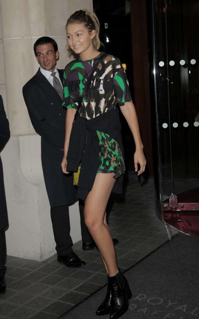 Gigi Hadid - Leaving her hotel in Milan