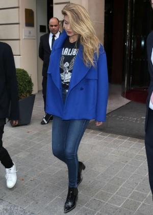 Gigi Hadid - Leaving her Hotel in Paris
