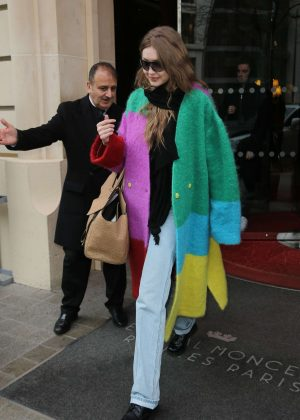 Gigi Hadid - Leaving Le Royal Monceau hotel in Paris