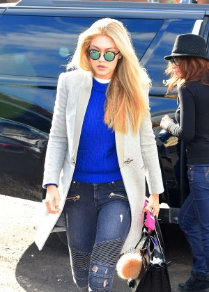 Gigi Hadid in Jeans Leaving Milk Studios in NYC