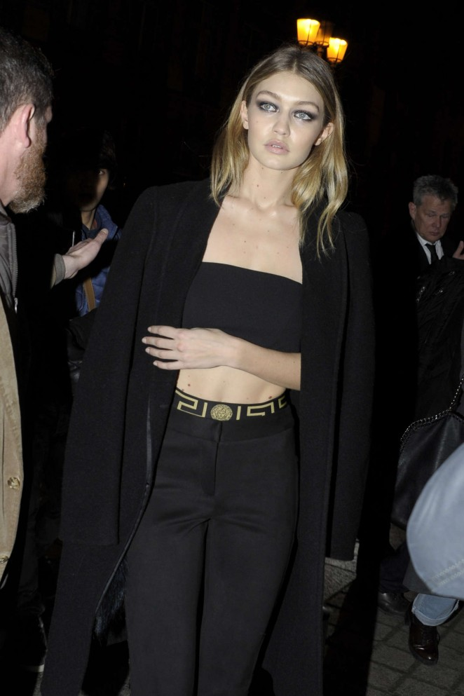 Gigi Hadid - Leaving the Kavia Kaspia Restaurant in Paris