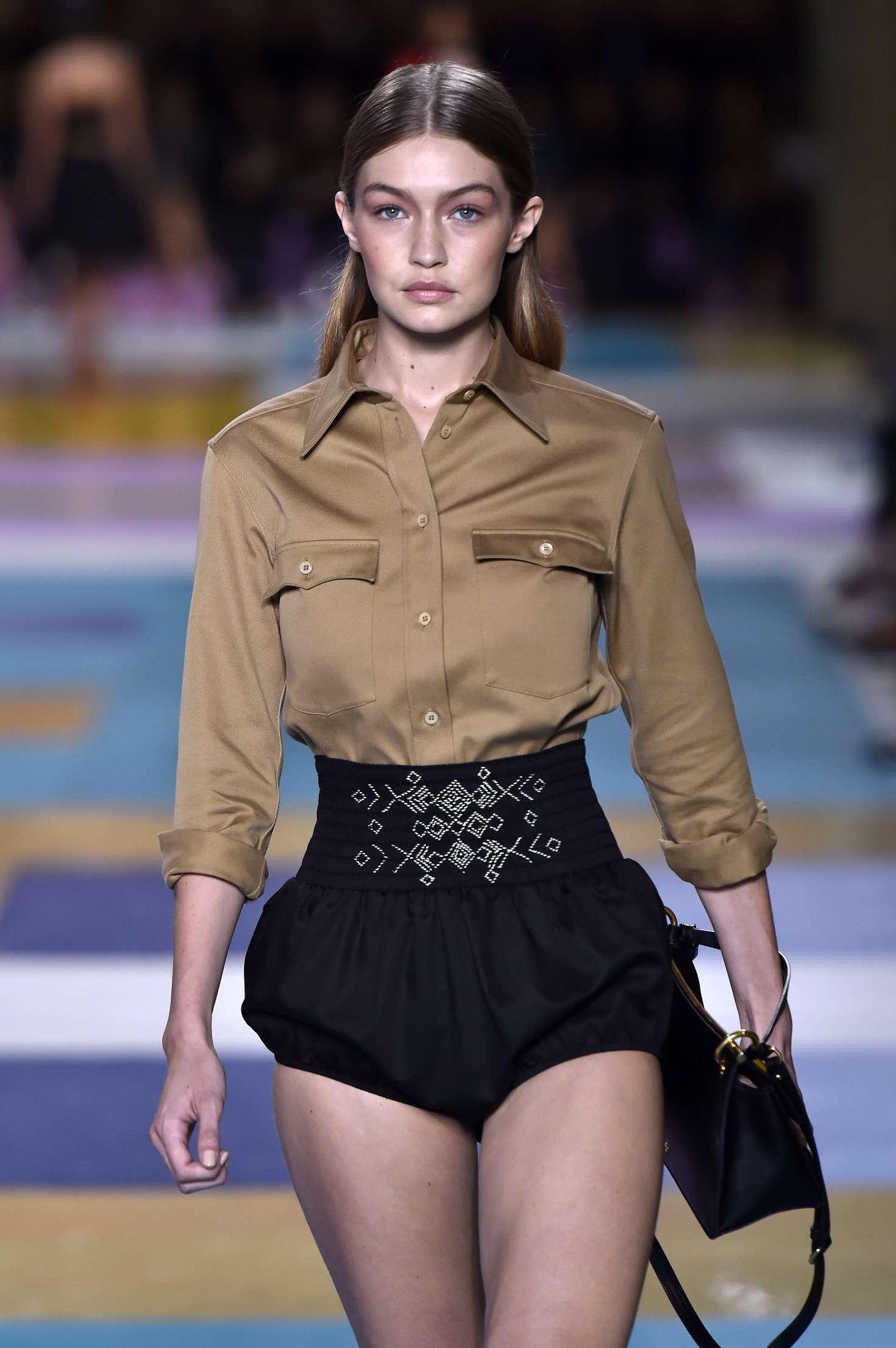 gigi hadid � miu miu runway fashion show in paris � gotceleb