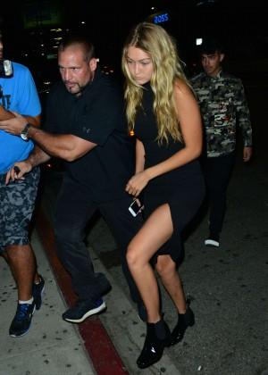 Gigi Hadid in Black Dress Nightout in Hollywood
