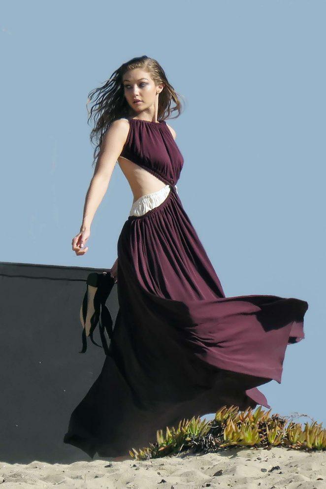 Gigi Hadid - On set of a photoshoot in Malibu