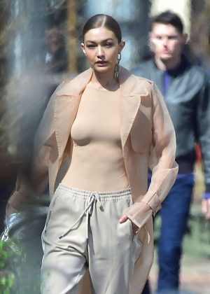 Gigi Hadid - On the set of a photoshoot in NYC