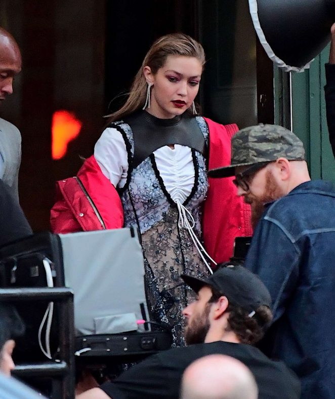 Gigi Hadid on the set of a stunning photoshoot in NYC
