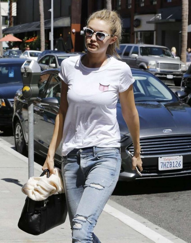 Gigi Hadid in Ripped Jeans Out in Beverly Hills