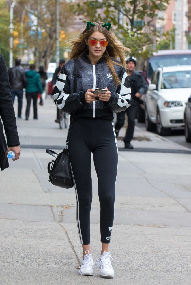 Gigi Hadid in Leggings out in New York