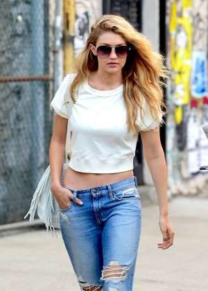 Gigi Hadid in Ripped Jeans Out in Soho