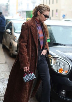 Gigi Hadid out for a coffee in Milan