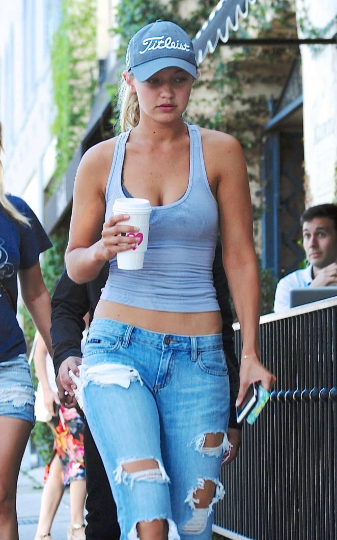 Gigi Hadid in Tank Top and Jeans Out in West Hollywood
