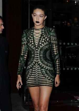 Gigi Hadid in Short Green Dress out in Paris