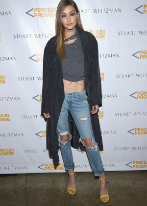 Gigi Hadid - Stuart Weitzman Partnership Launch with Pencils of Promise in NYC