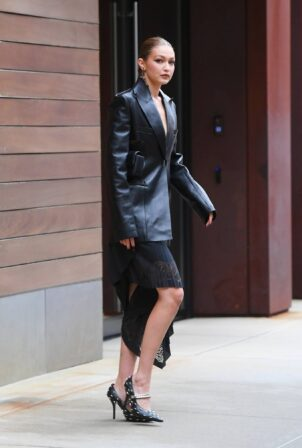 Gigi Hadid - Suits up in leather for New York Fashion Week