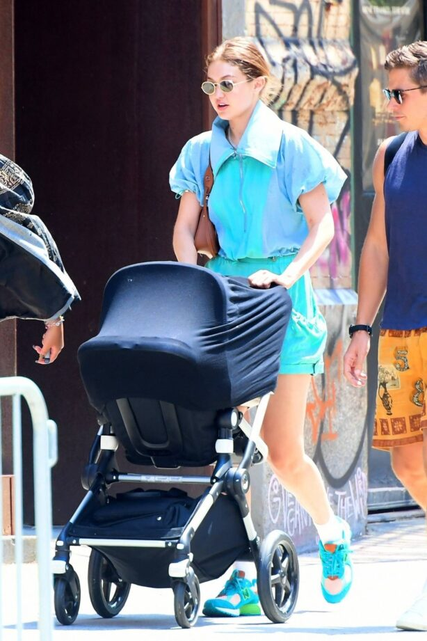 Gigi Hadid - takes a stroll with her daughter in New York