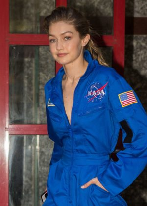 Gigi Hadid - Wearing a blue NASA jumpsuit in NYC