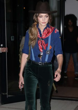 Gigi Hadid wearing a girl scout costum in New York City