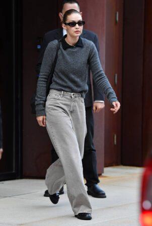 Gigi Hadid - Wears a grey sweater in New York