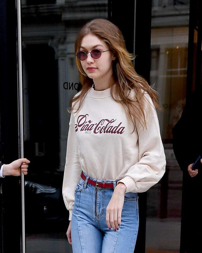 Gigi Hadid - Wears a Pina Colada sweat shirt in NYC