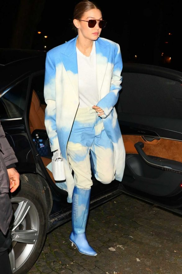 Gigi Hadid - Wears cloudy ensemble arriving at the Bacarrat Cristal Bar in Paris