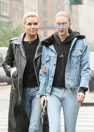 Gigi Hadid with her mother out in New York