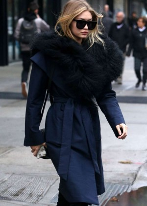 Gigi Hadidin Long Coat Out in NYC