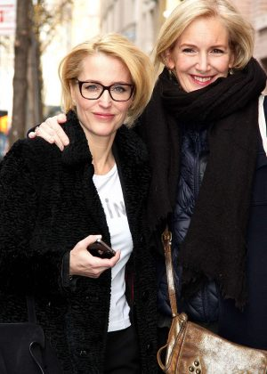 Gillian Anderson and Jennifer Nadal at AOL Build studios in NYC