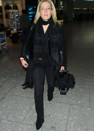 Gillian Anderson - Arriving at Heathrow Airport in London