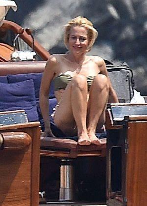 Gillian Anderson In Bikini In Portofino Gotceleb