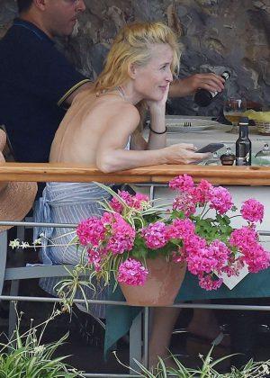 Gillian Anderson in Bikini in Portofino