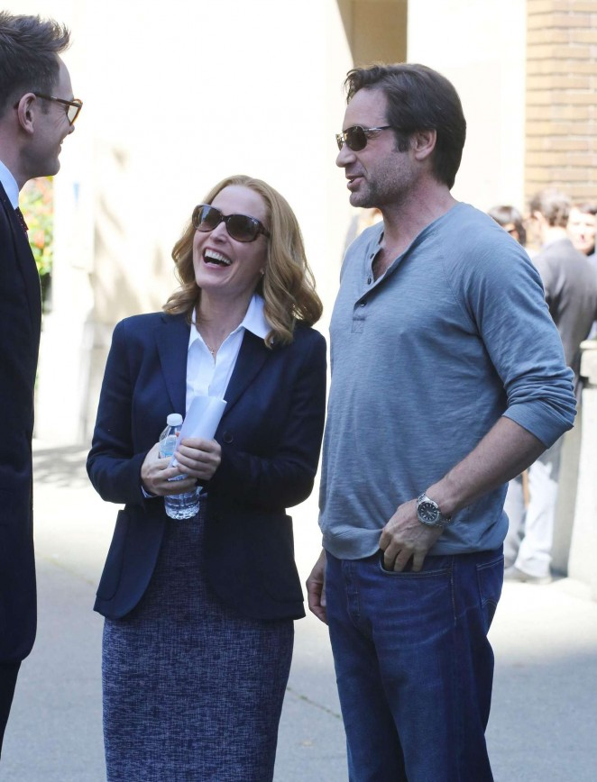 Gillian Anderson on the set of 'The X-Files' in Vancouver