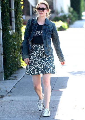 Gillian Jacobs in Mini Skirt Out in Beverly Hills