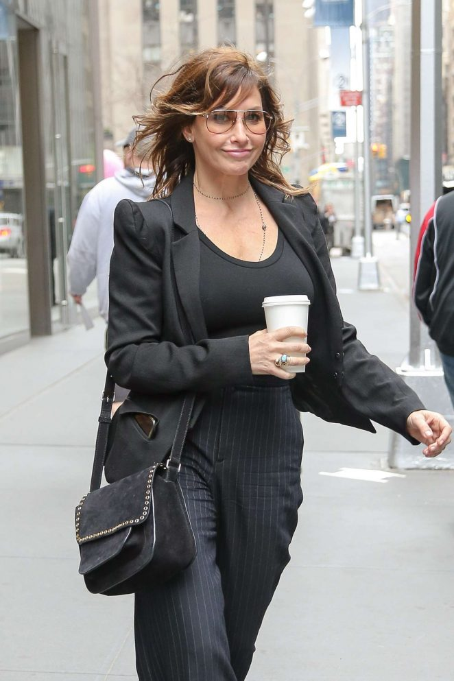 Gina Gershon - Leaving SiriusXM studios in New York