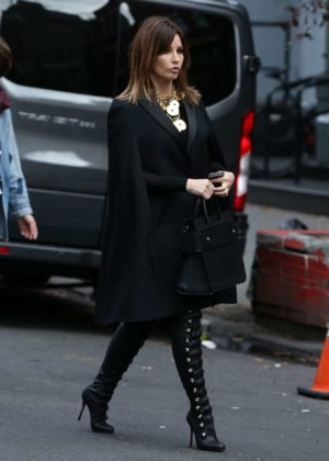 Gina Gershon - On the set of 'Fashion Victim' in New York