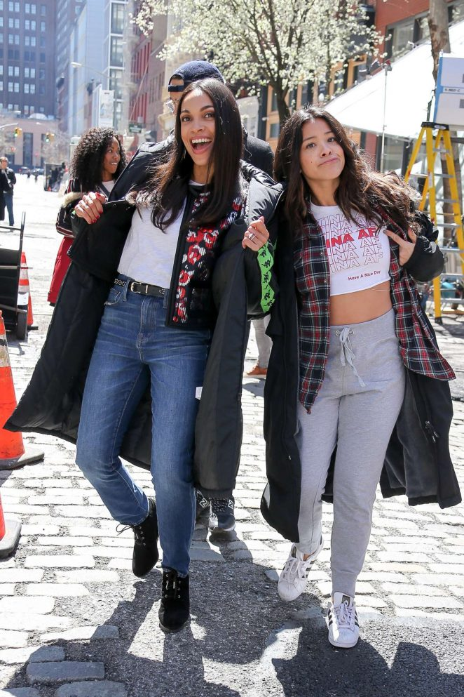 Gina Rodriguez and Rosario Dawson - On the 'Someone Great' set in NY