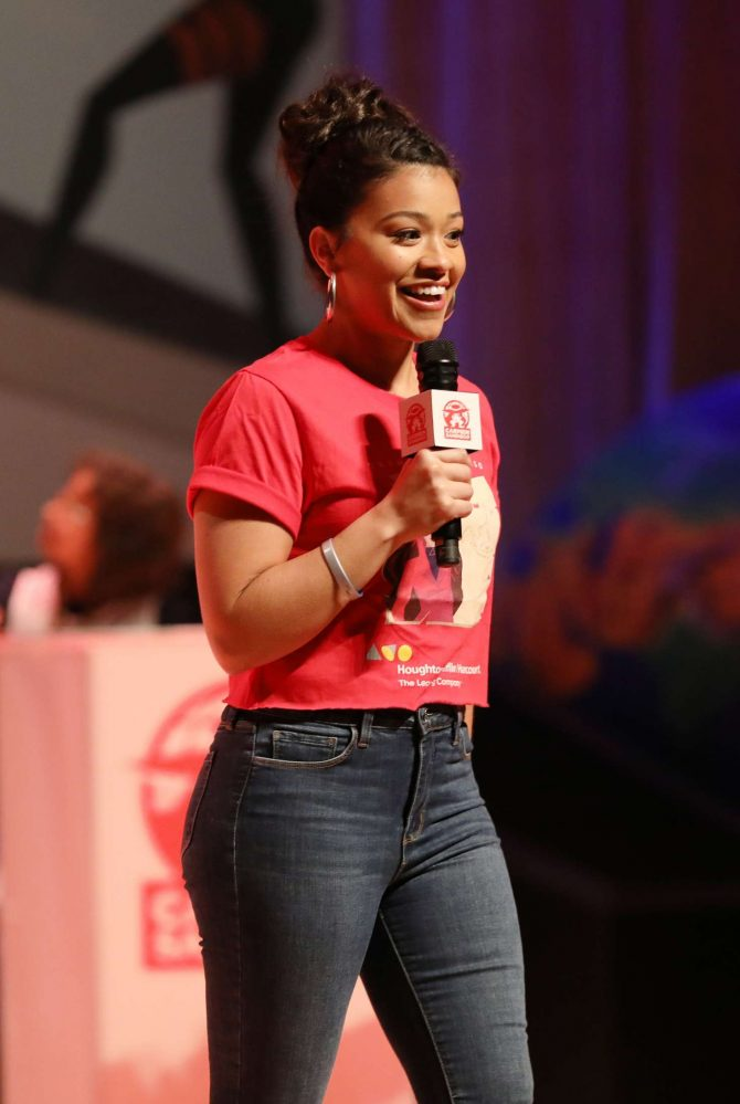 Gina Rodriguez – On stage as she hosts 'Carmen Sandiego Day' in Miami