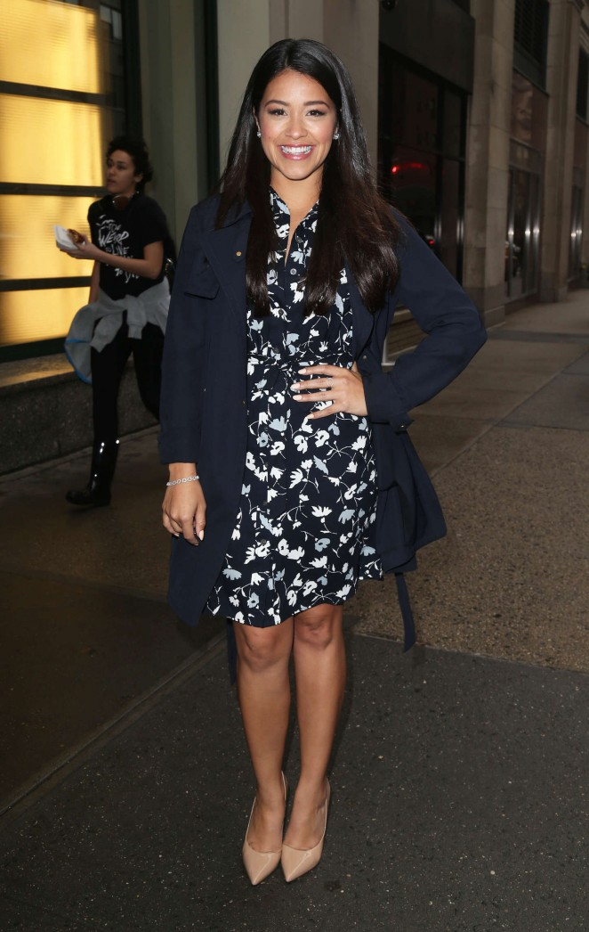 Gina Rodriguez in Mini Dress Out in NYC