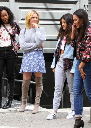 Gina Rodriguez, Rosario Dawson, Brittany Snow and Dewanda Wise on 'Someone Great' set in NY